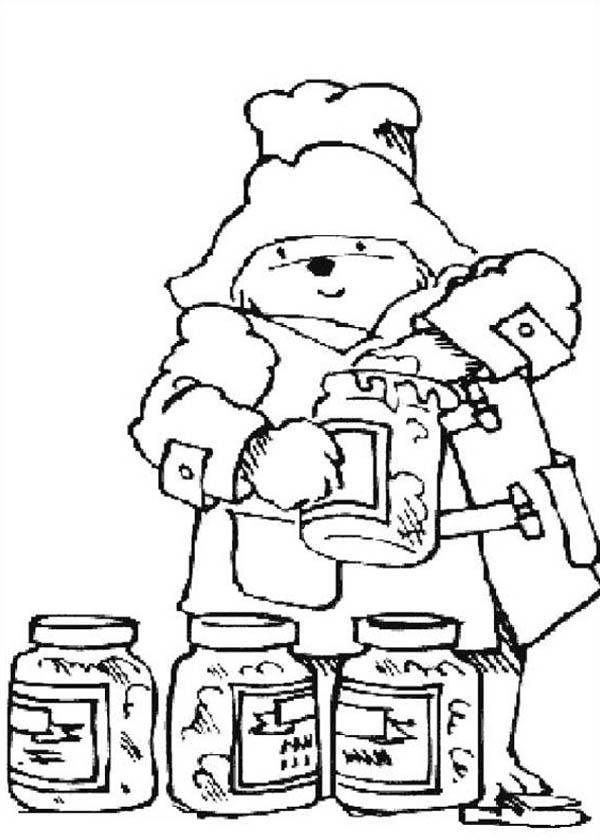 Paddington Bear, : Paddington Bear Love Honey Very Much Coloring Page