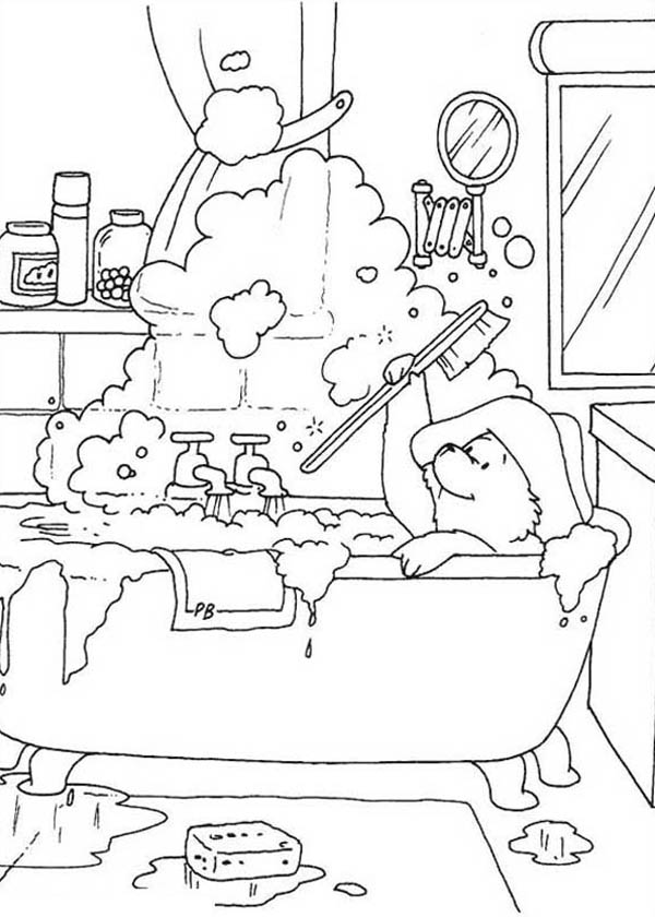 tub coloring page - paddington bear play with buble in bathtub coloring page