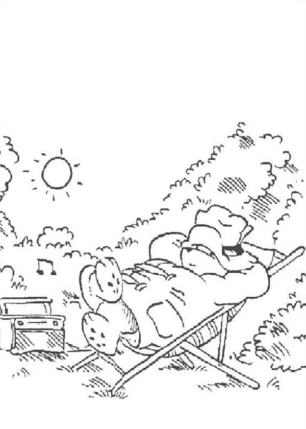 Paddington Bear, : Paddington Bear Sun Bathing in the Back Yard Coloring Page