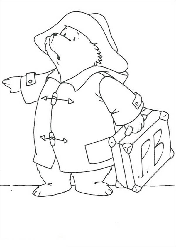 Paddington Bear, : Paddington Bear Want to Travel Out of Town Coloring Page