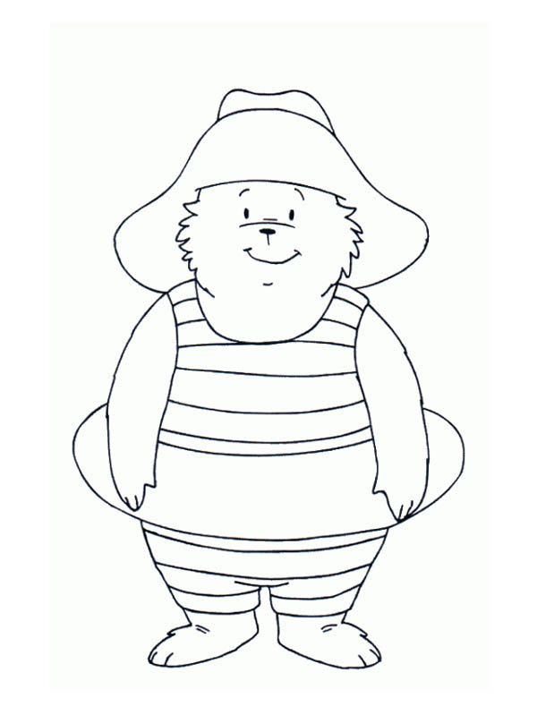 Paddington Bear, : Paddington Bear Would Like to Swim Coloring Page