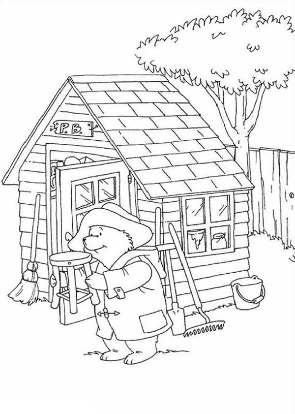 Paddington Bear, : Paddington Bear in Front of Warehouse Coloring Page