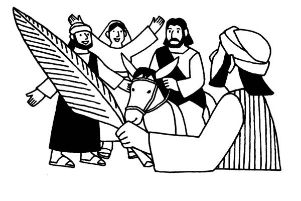Palm Sunday, : Palm Sunday Image Coloring Page