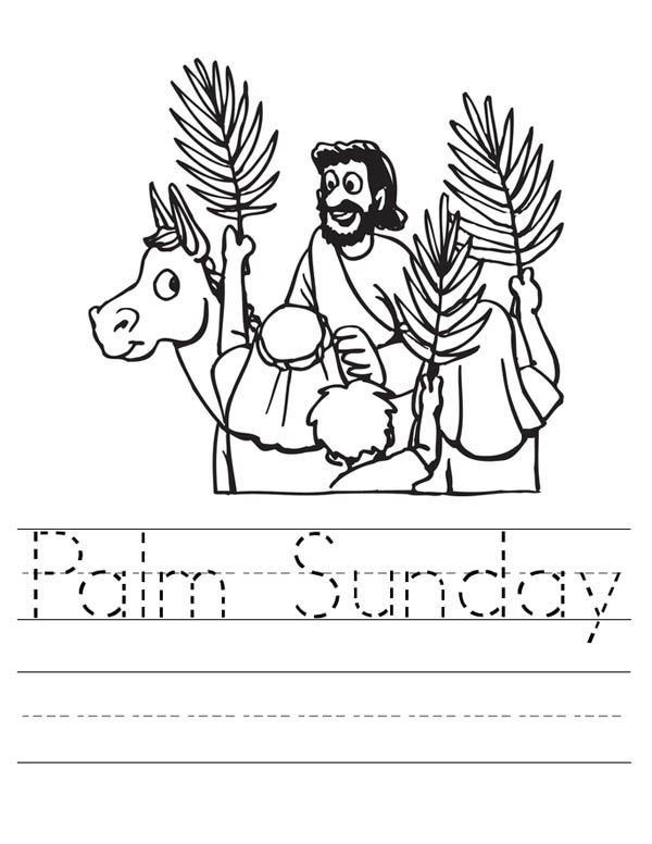 Palm Sunday, : Palm Sunday Worksheet Coloring Page