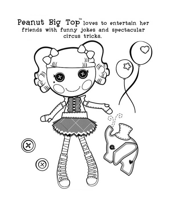 Lalaloopsy, : Peabut Big Top Loves to Entertain Her Friends with Funny Jokes and Spectacular Circus Tricks Lalaloopsy Coloring Page