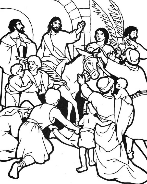 Palm Sunday, : People Worship Jesus in Jerusalem in Palm Sunday Coloring Page