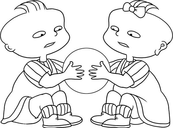 Phil And Lil Quarrel For A Ball In Rugrats Coloring Page