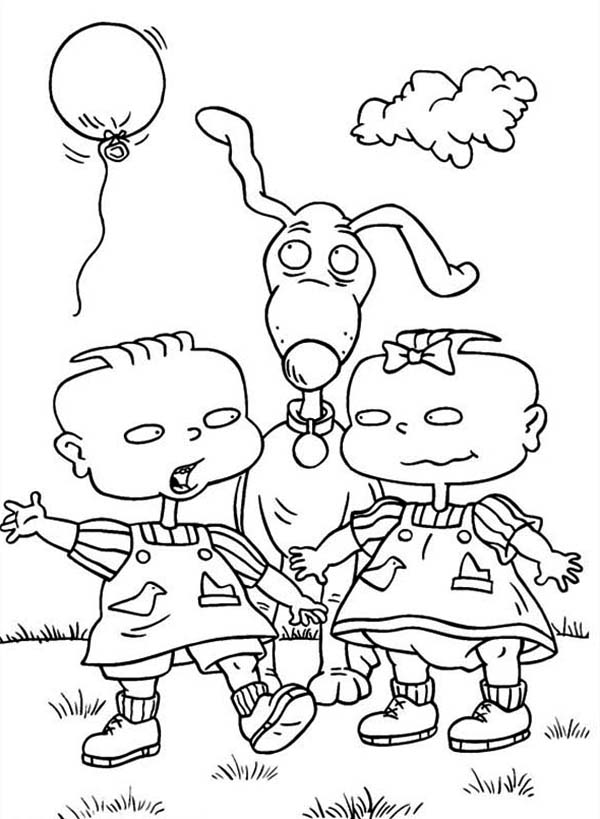 Rugrats, : Phil and Lil Release a Balloon in Rugrats Coloring Page