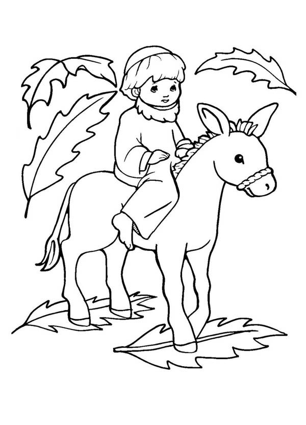 Palm Sunday, : Picture of Jesus on a Donkey Palm Sunday Coloring Page