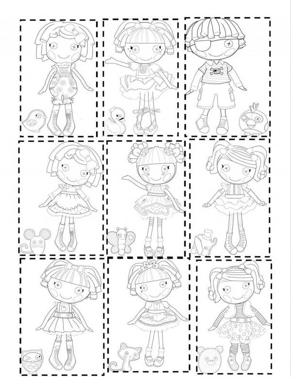 Lalaloopsy, : Picture of Lalaloopsy All Characters Coloring Page