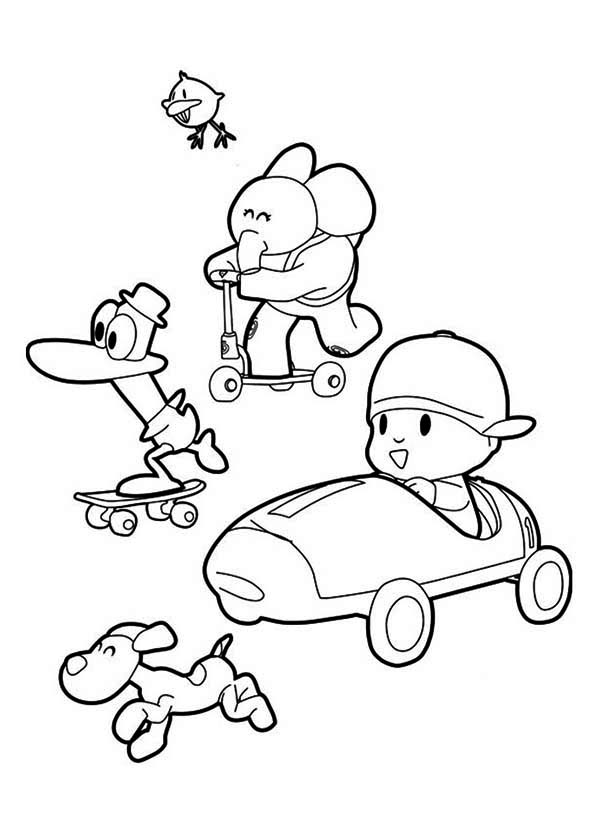 picture of pocoyo and friends coloring page - Pocoyo Friends Coloring Pages