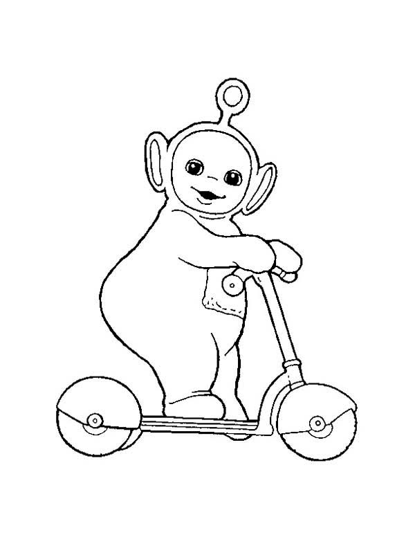 Teletubbies, : Po Play with Scooter in the Teletubbies Coloring Page