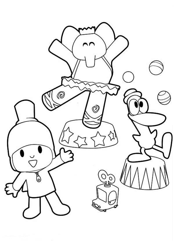 Pocoyo, : Pocoyo Doing Circus with His Friends Coloring Page