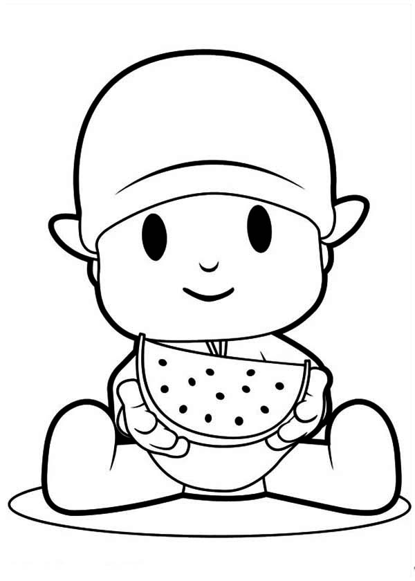 pocoyo eating slice of watermelon coloring page - Pocoyo Friends Coloring Pages