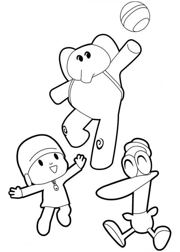 Pocoyo, : Pocoyo Elly and Pato Play Ball Together Coloring Page