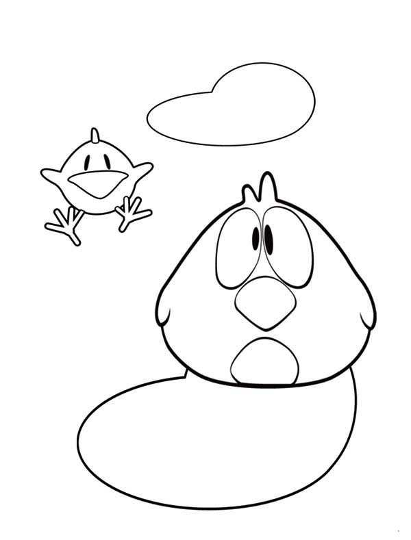 Pocoyo, : Pocoyo Friend Sleepy Bird Coloring Page