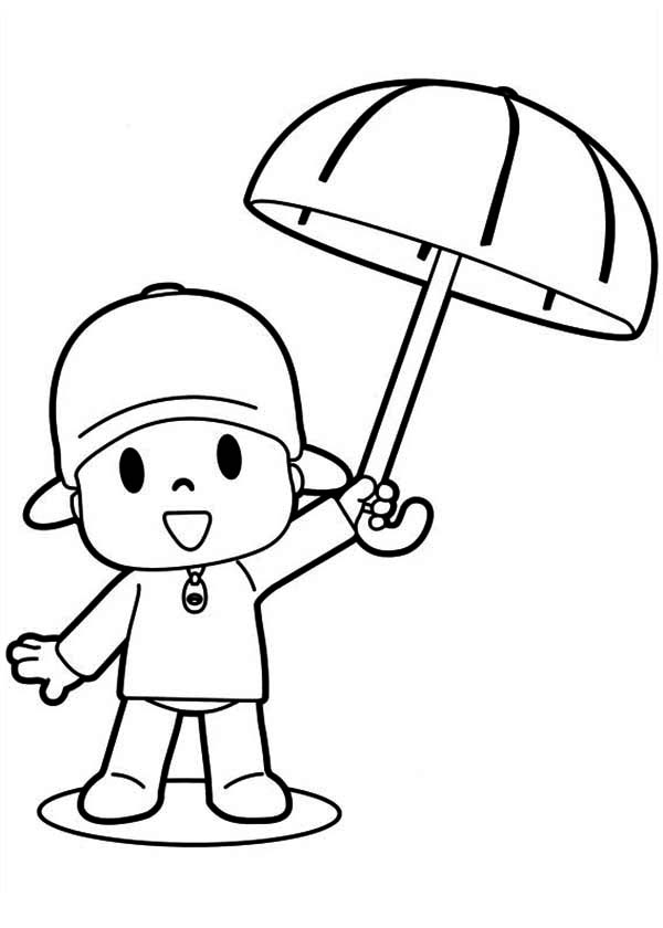 Pocoyo, : Pocoyo Has an Umbrella Coloring Page