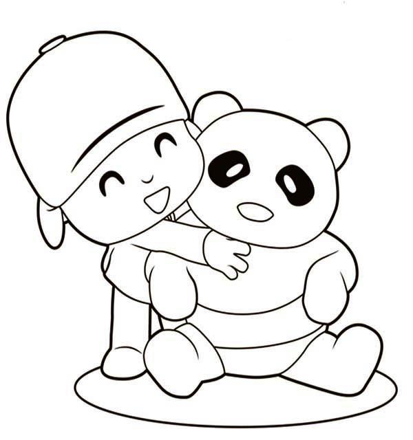 Pocoyo, : Pocoyo Hug a Panda Coloring Page