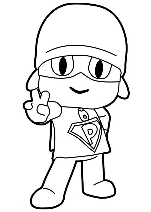 Pocoyo, : Pocoyo Make Peace Sign Coloring Page