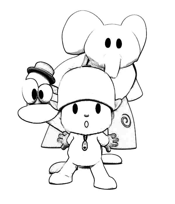 Pocoyo, : Pocoyo Posing with Friends Coloring Page