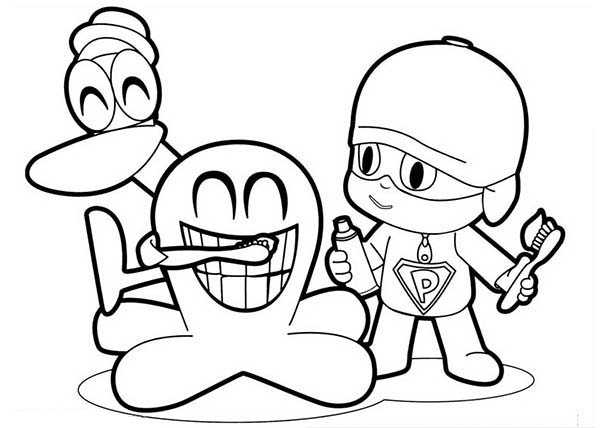 Pocoyo, : Pocoyo and Friends Laughing Hard Coloring Page