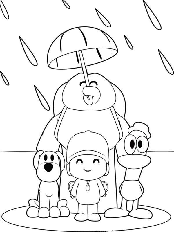 pocoyo and friends under one umbrella coloring page - Pocoyo Friends Coloring Pages