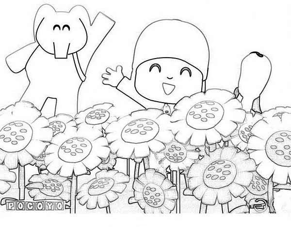 pocoyo and friends at sunflower garden coloring page - Pocoyo Friends Coloring Pages