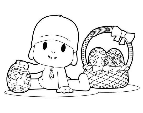 Pocoyo and a Basket of Easter Eggs Coloring Page Color Luna