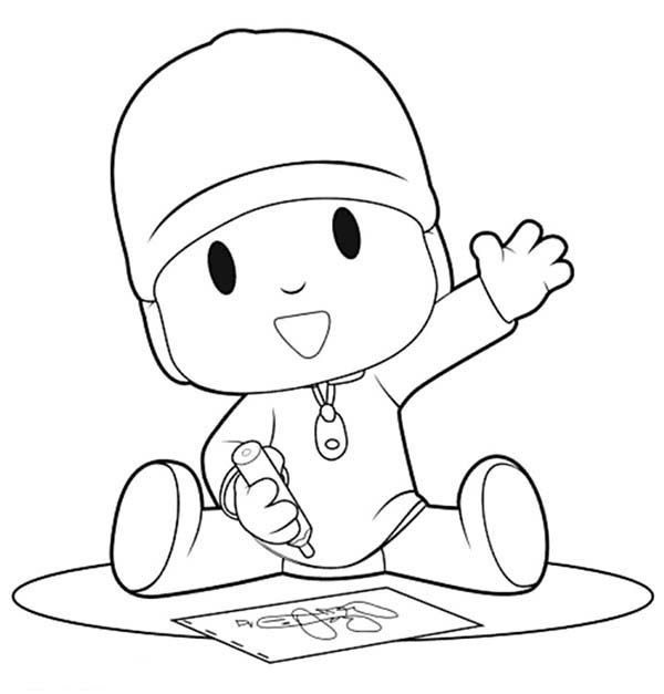 Pocoyo Is Drawing With Crayon Coloring Page