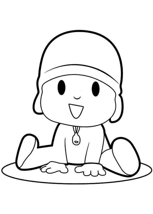 pocoyo is laughing coloring page - Pocoyo Friends Coloring Pages