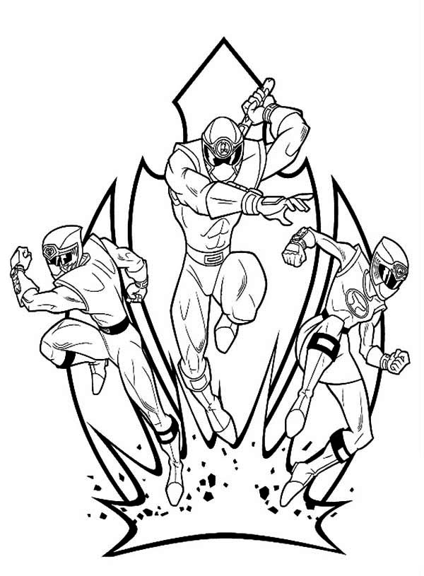 Power Rangers, : Power Rangers Ninja Storm in Action Coloring Page