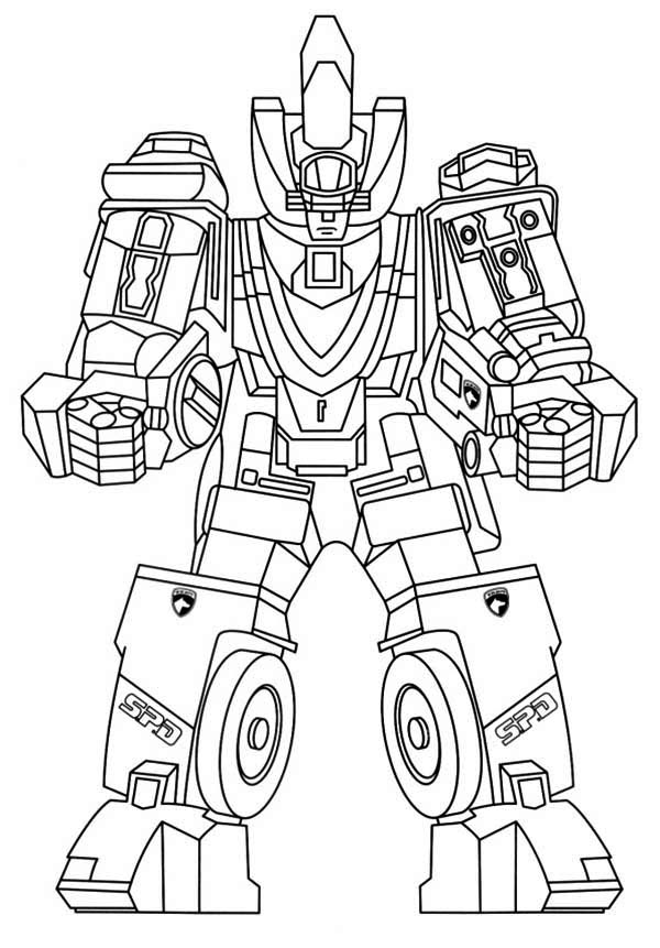 Power Rangers, : Power Rangers Robot Assembled Coloring Page