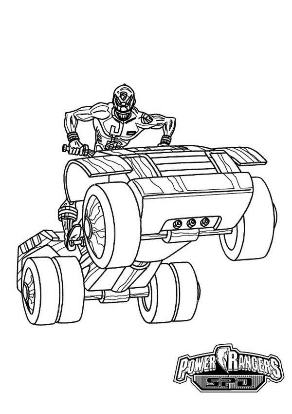 Power Rangers Spd Ride An Atv Coloring Page For Kids