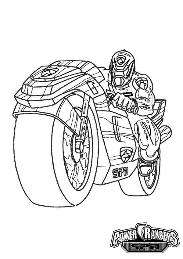 power rangers spd on super cool motorcycle coloring page