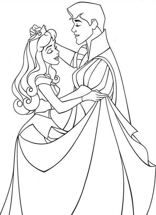 Sleeping Beauty, : Princess Aurora Dance with Prince Phillip in Sleeping Beauty Coloring Page