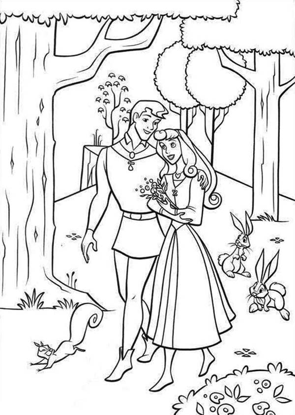 Sleeping Beauty, : Princess Aurora Love Prince Phillip so Much in Sleeping Beauty Coloring Page