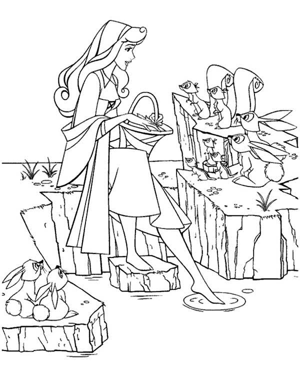 Sleeping Beauty, : Princess Aurora Put Her Feet in Water in Sleeping Beauty Coloring Page