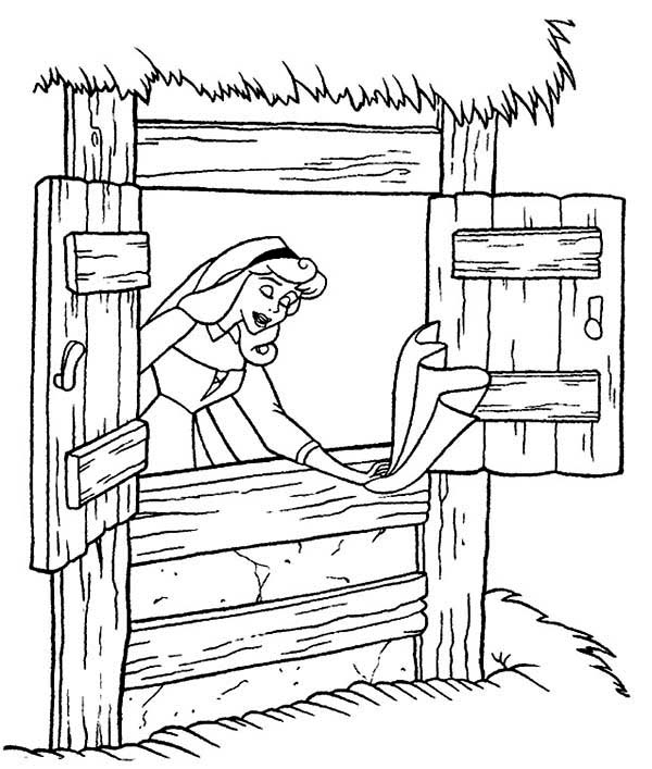 Sleeping Beauty, : Princess Aurora Singing While Cleaning House in Sleeping Beauty Coloring Page