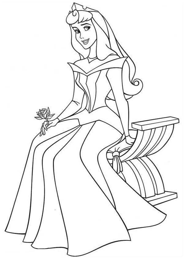 Sleeping Beauty, : Princess Aurora Sitting on Bench in Sleeping Beauty Coloring Page