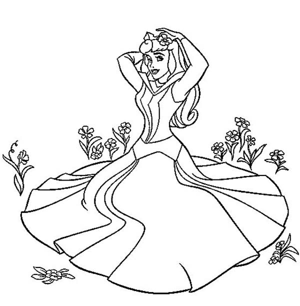 print princess aurora sitting on the grass in sleeping beauty coloring page in full size