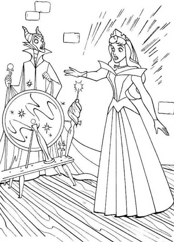 Sleeping Beauty, : Princess Aurora Stunk by Poisonous Needle in Sleeping Beauty Coloring Page