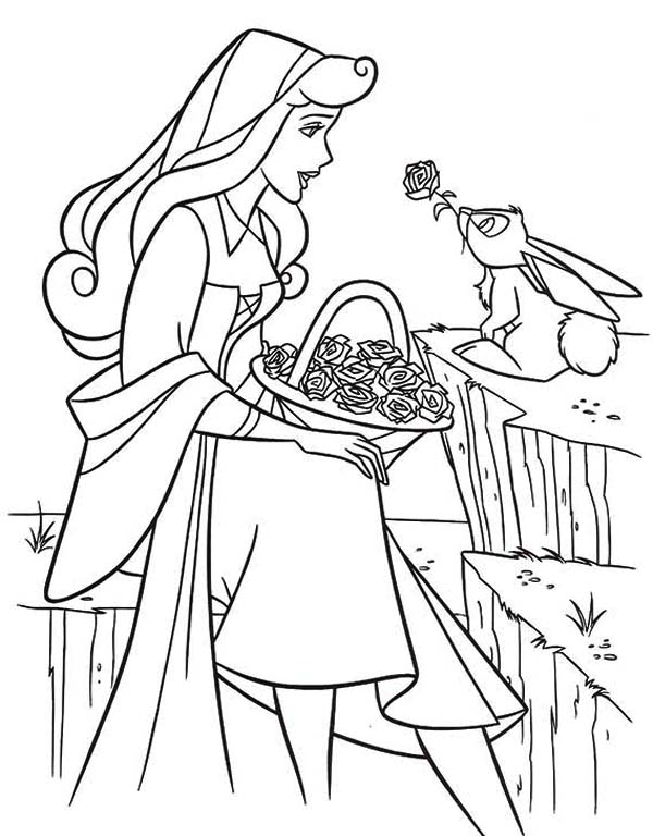 Sleeping Beauty, : Princess Aurora Talking to Rabbit in Sleeping Beauty Coloring Page