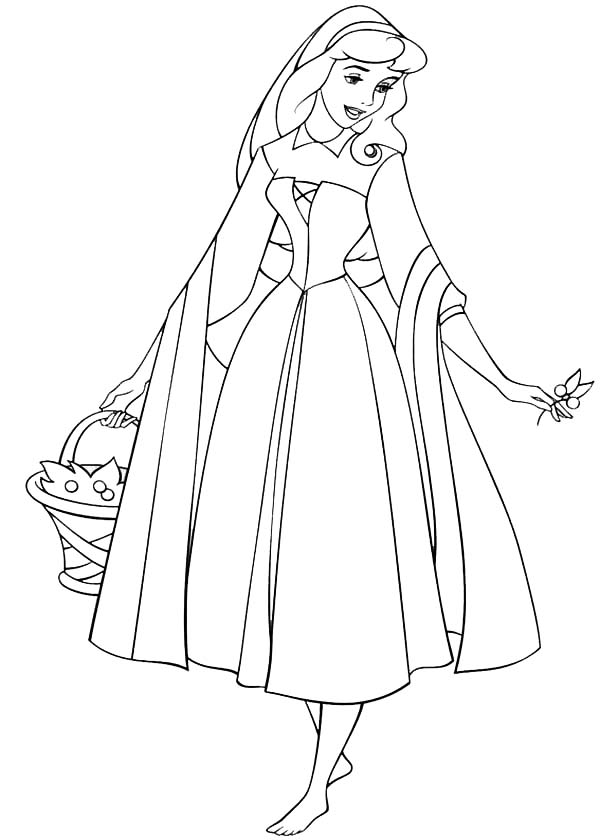 Sleeping Beauty, Princess Aurora Wander Around in Sleeping Beauty Coloring Page: Princess Aurora Wander Around In Sleeping Beauty Coloring PageFull Size Image