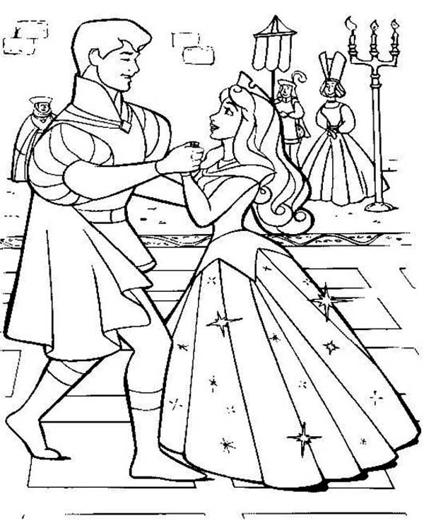 Princess Aurora Wedding Dance With Prince Phillip In Sleeping Beauty  Coloring Page