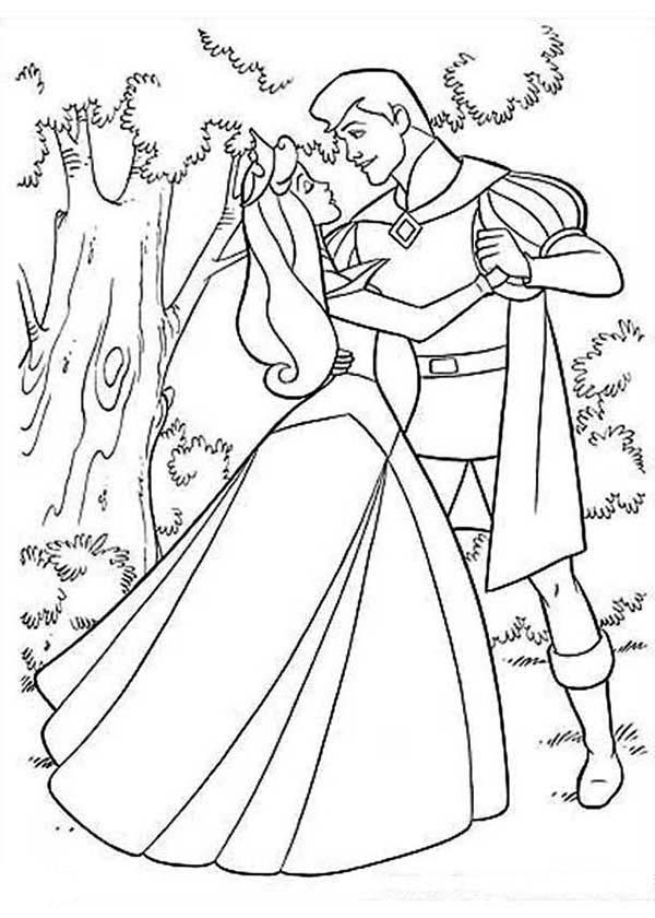 princess aurora and prince phillip dance in the forest in sleeping beauty coloring page