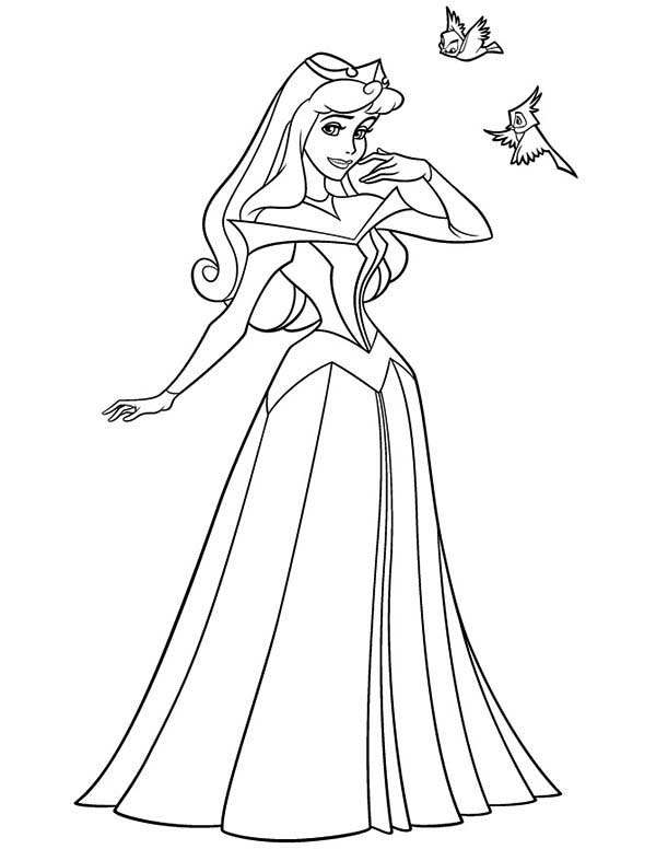 Princess Aurora And Twi Little Birds In Sleeping Beauty Coloring Page Color Luna