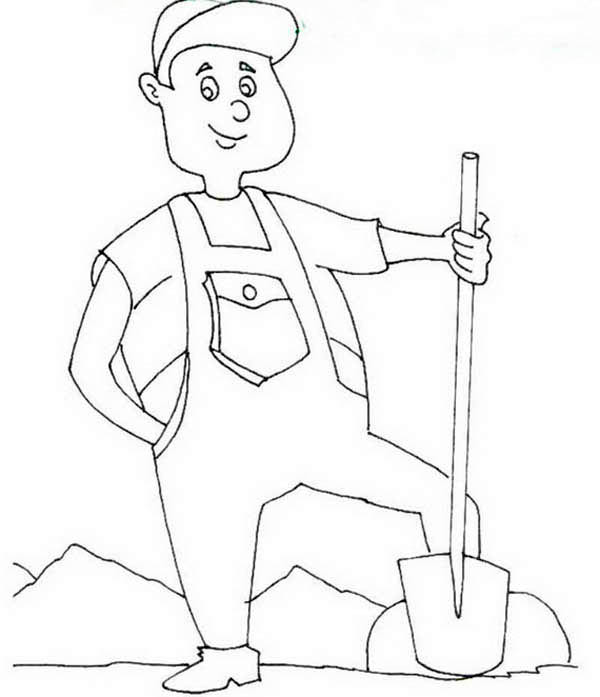 labor day proud farmer in labor day coloring page - Labor Day Coloring Pages Kids