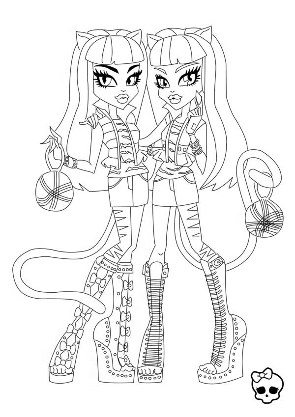 Monster High Purrsephone And Meowlody From Coloring Page