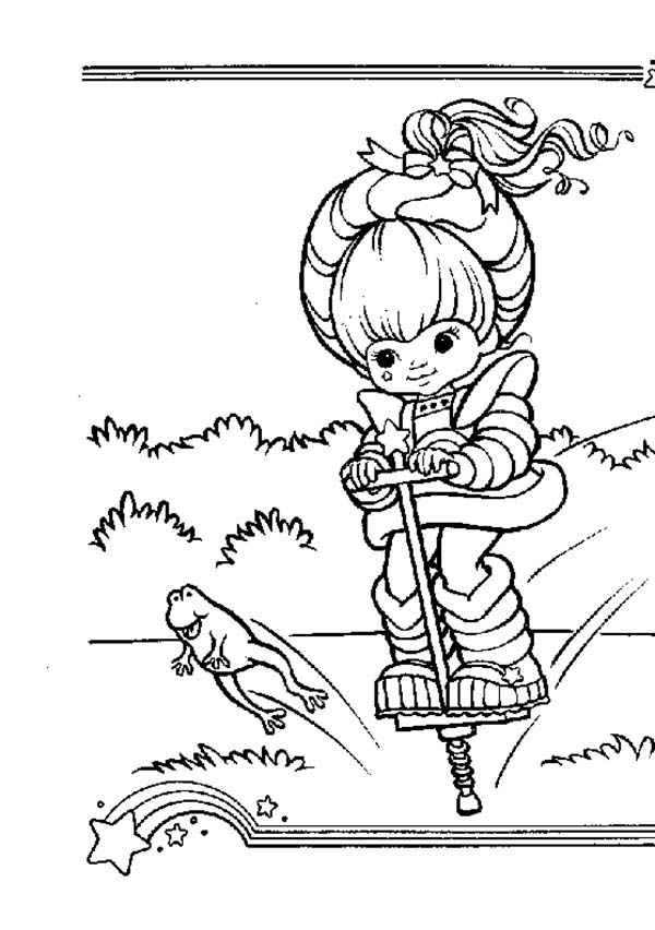 Rainbow Brite, : Rainbow Brite Jumping with Frog Coloring Page