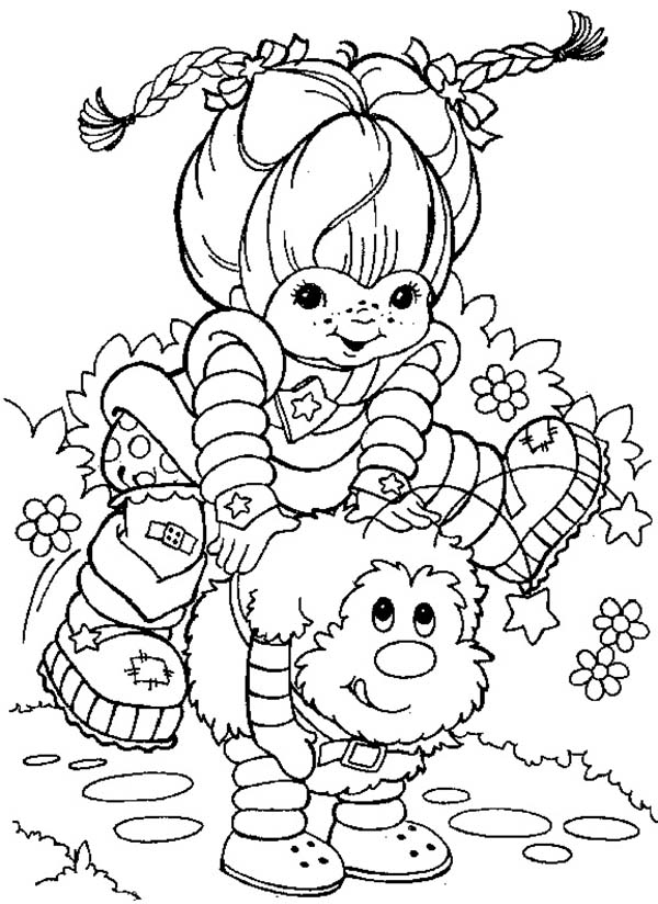 Rainbow Brite, : Rainbow Brite Playing with Twink Coloring Page